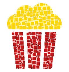 popcorn bucket mosaic of squares and circles vector image