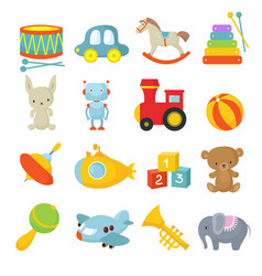 Preschool children toys isolated cartoon vector