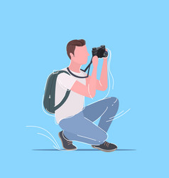 professional photographer taking picture photo man vector image