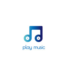 record note play music logo design vector image