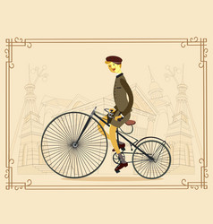 Retro gentleman with mustaches on a bicycle vector