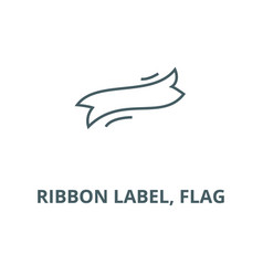 ribbon label flag line icon linear vector image