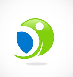 Round sport people fitness logo vector