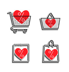 Sale shop bag basket and cart icons discount vector