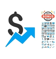 Sales Growth Icon With 2017 Year Bonus Pictograms vector