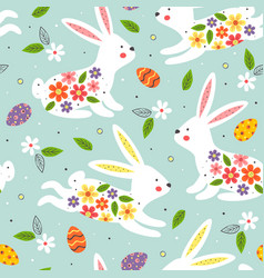 seamless pattern white easter bunny vector image