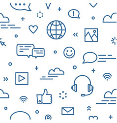 Seamless pattern with social media and networking vector