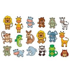 Set funny cartoon animals vector