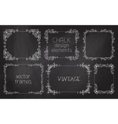 Set of chalk calligraphic frames vector