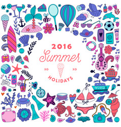 Summer doodles design travel vacation vector