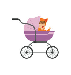 Sweet little kid sitting in a purple baby pram vector