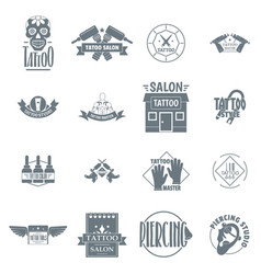 tattoo logo icons set simple style vector image