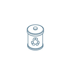 trash recycling isometric icon 3d line art vector image