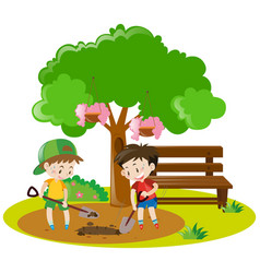 Two boys digging hole in garden vector