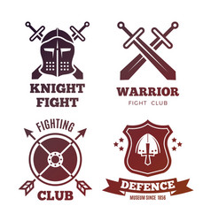 Vintage medieval warrior emblems isolated on white vector