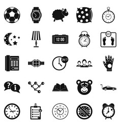 watch icons set simple style vector image
