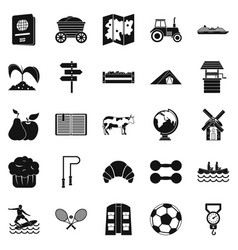 Water recreation icons set simple style vector