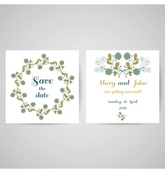 Wedding Postcard With Blue Flowers vector image