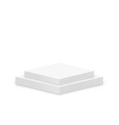 white 3d podium mockup in square shape empty vector image