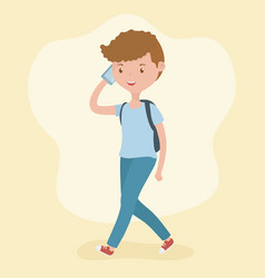 Young boy walking using smartphone vector