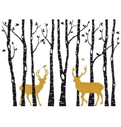 Birch trees with gold Christmas reindeer vector image