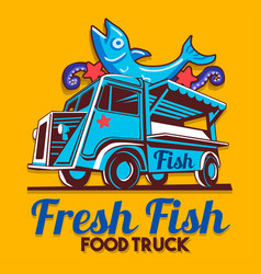 food truck fish shop delivery service logo vector image vector image