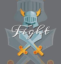 medieval crossed swords and helmet elements vector image vector image