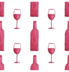 Seamless watercolor pattern with wine bottles and vector image vector image