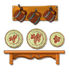set of old plates and mugs on shelves vector image