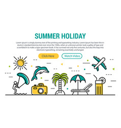 summer holiday - rectangular site header vector image vector image