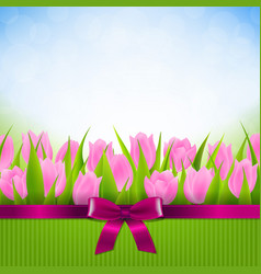 tulip border card vector image vector image