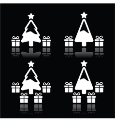 Christmas tree with presents white icons on black vector image vector image