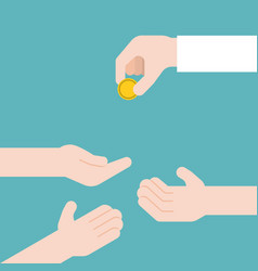 hand giving gold coin and another three hands vector image vector image