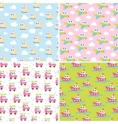 Kids patterns set with cute car airplane vector image vector image