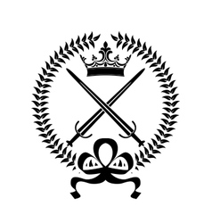 Royal emblem with crossed swords vector image vector image