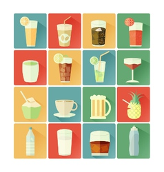 flat icons beverage vector image vector image