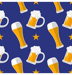 Glass of beer flat seamless pattern vector image vector image