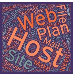 How To Select A Web Site Host text background vector image vector image