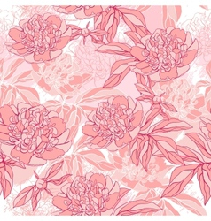 pattern with peony and foliage Hand drawn vector image
