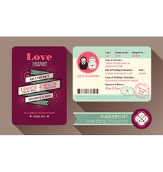 Retro visa passport wedding invitation card design vector