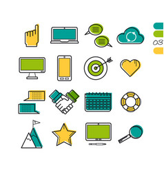 set linear work process colored icons vector image vector image