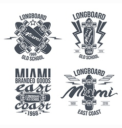 Longboard retro emblems vector