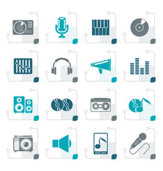 stylized music and audio equipment icons vector image vector image
