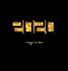2020 happy new year card in black paper cut style vector image
