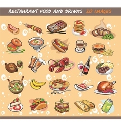 25 food and drink images vector image