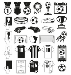 30 soccer elements black and white set vector