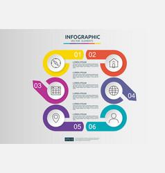 6 steps infographic timeline design template vector