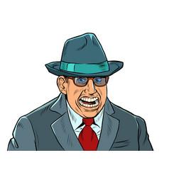 a businessman with a creepy smile fake joy vector image