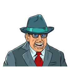 A businessman with creepy smile fake joy vector