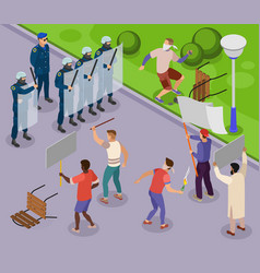 Activists isometric poster vector